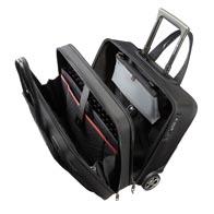 Compartiments rembourrés pour ordinateur et tablette avec bandes de fixation velcro élastiques.